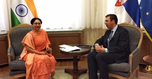 Aлeксaндaр Вучич и посол Индии Нaриндeр Чaухaн